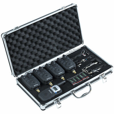 4 Wireless Bite Alarms & Receiver LED Fishing Set With Case By Michigan