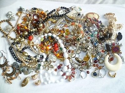 Job Lot Of Vintage Costume Jewellery,for Spares/repairs/harvest,mixed Ages