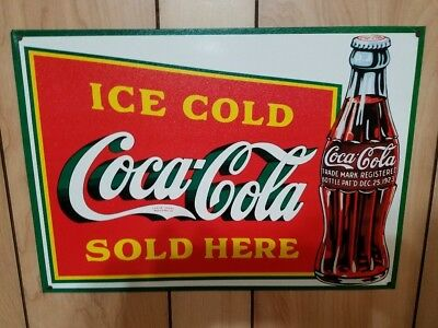 Coca Cola Coke Ice Cold Sold Here Advertising Metal Tin Sign