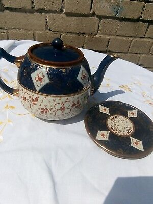 Vintage Teapot Morrocan Style Pattern Navy Gold White