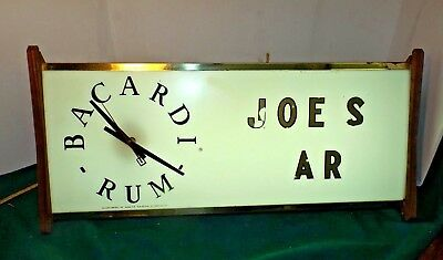 """Vintage 1960's Bacardi Rum 25"""" Light-up Clock Sign for Bar Man Cave by AMERICAN"""