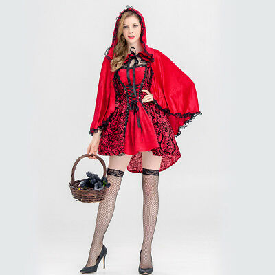 Halloween Little Red Riding Hood Adult Cape Role Cosplay Costume Party Outfit
