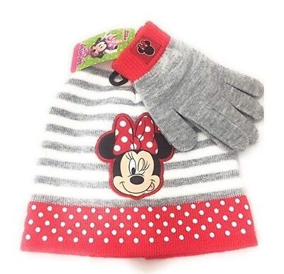 b2bd9ae516114 Disney Mickey Minnie Mouse Knitted Beanie Winter Gift Hat Gloves Sets Grey  NWT