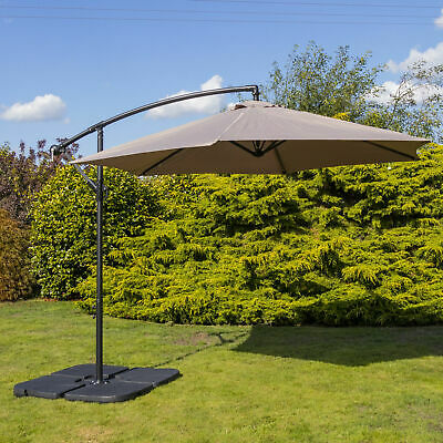 Woodside 3m Garden Hanging Cantilever Banana Parasol Umbrella with Crank & Tilt