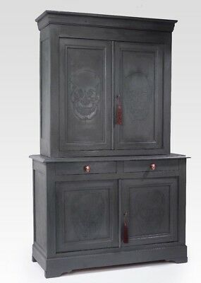 Stunning Antique French Housekeepers Linen Storage Cupboard With Skull Shadows.