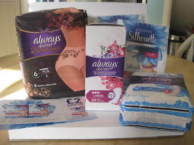 Always Discreet Boutique 6 Plus - Large 8 Pants + Tena Silhouette +Pads & Liners