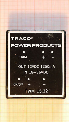 TRACO POWER DC/DC Converter TWM 15.32, 18-36VDC IN, 12V1250mADC Out. 1 Stk.