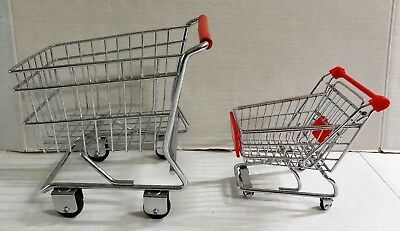 Metal Shopping Grocery Cart Pretend Play Toy Lot of 2