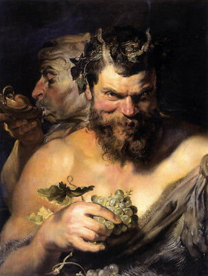 CHOP641 fancy  portrait Two-Satyrs 100% hand painted oil painting canvas art