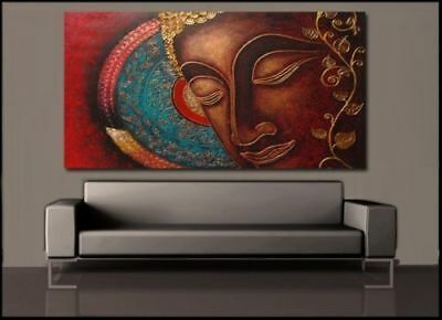 CHOP374 100% hand-painted large abstract buddha wall art oil painting on canvas
