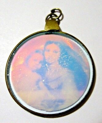 Mother And Child Fancy Hologram Glass Pendant Beautiful Different Vintage