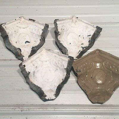 "4pc Set matching corners 6"" Antique Ceiling Tin Vintage Reclaimed Salvage Art"