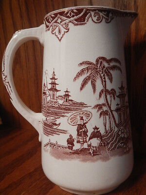 """Vntg Brown Transferware Pitcher Oriental Aesthetic Style ~ signed CHINESE """"H"""""""