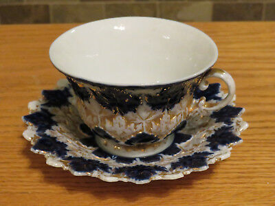 Beautiful Antique Meissen Embossed Gilt & Floral Decorated Blue Cup & Saucer