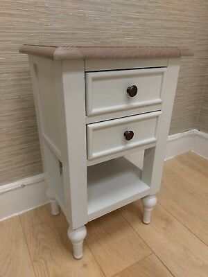 French Country White 2 Drawer Side Lamp Table / Shabby Chic Bedside Cabinet