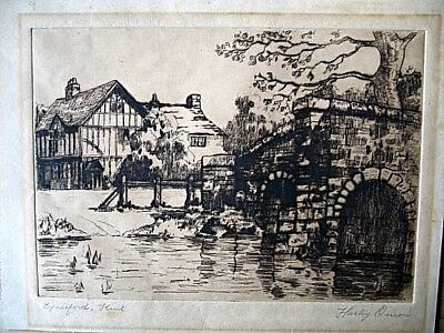 Harley Onion Signed Etching Print Drawing Eynsford Kent House & Bridge Unframed