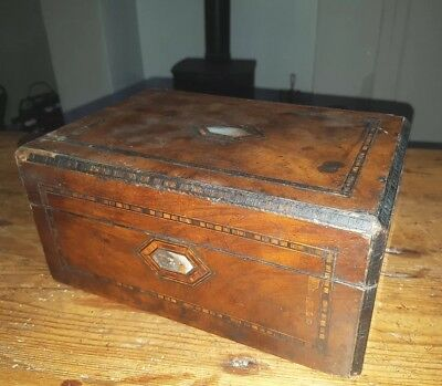 Nice Vintage/Antique Wooden Box - Inlay & Mother of Pearl Lid