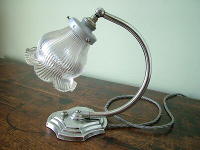 ORIGINAL 1930's ART DECO CHROME ADJUSTABLE TABLE LAMP with HOLOPHANE BELL SHADE