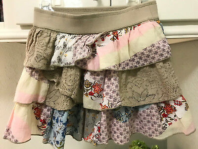 MIMI & MAGGIE Skirt Sz 4T Multi-Color & Patchwork Layered Floral VGUC