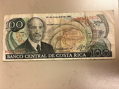 COSTA RICA 100 Colones Banknote World Currency Money Bill Central America