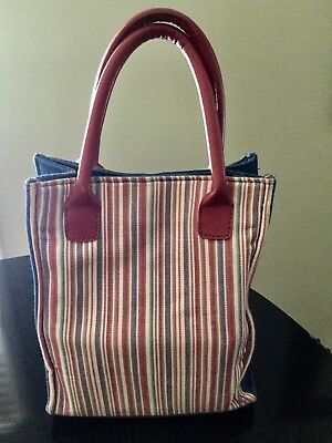 Longaberger Denim, Red, White, Blue, and Green Stripe Handbag with Matching Case