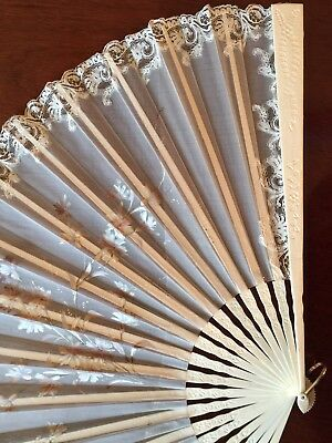 Large 19th C French Antique Lace And Painted Decoration Fan On Carved Sticks.