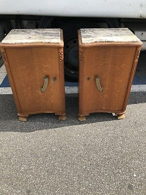 Art Deco Style Bedside Cabinets With Marble Tops Stunning