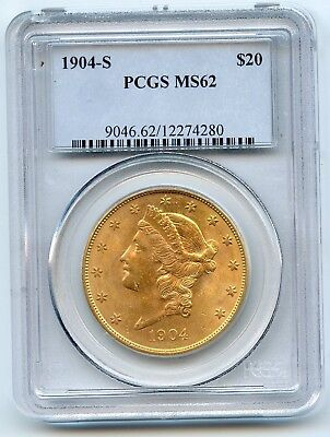 1904-S $20 Liberty Head Gold Double Eagle (MS 62) PCGS SHARP COIN!!