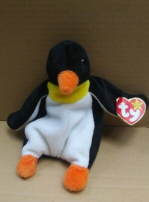 Waddle The Penguin TY Original Beanie Baby Major Tag Errors #4075-Retired