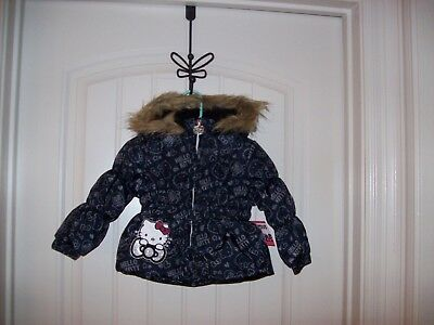 286649e0a Hello Kitty Girls All Over Printed Puffer Jacket With Fur Trim Hood Size 12M