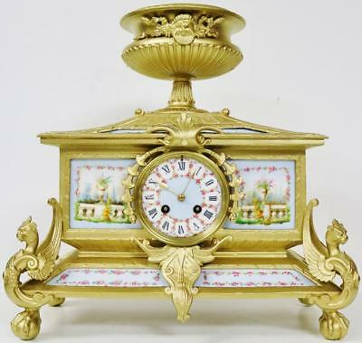 Rare Antique French 8 Day Gilt Metal & 12 Sky Blue Sevres Porcelain Mantle Clock