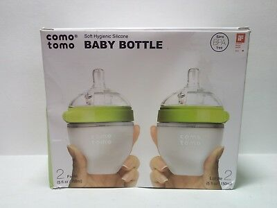 Comotomo 2 Pack Baby Bottles 5 oz Slow Flow Lime Green FREE SHIP