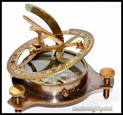 """Antique Nautical Sundial Compass Solid Brass Vintage Maritime 4"""" Reproduction"""