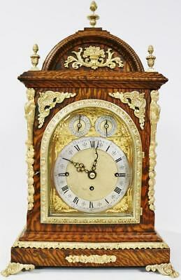 Antique English Snake Oak Triple Fusee Musical 8 Bell Double Chime Bracket Clock