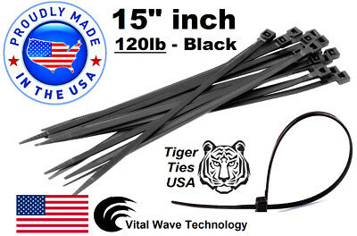 "200 Black 15"" inch Wire Cable Zip Ties Nylon Tie Wraps 120lb USA Made Tiger Ties"