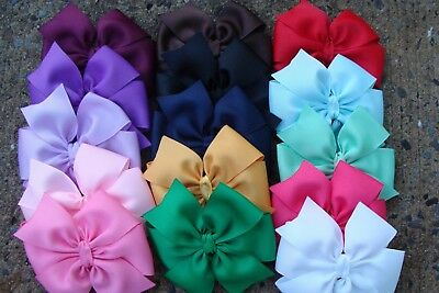 "4"" inch 12 Pcs pinwheel Hair Bows Girl Baby Alligator Grosgrain Ribbon handmade"