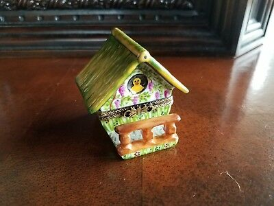 Bird House with Fence Rochard Limoges Trinket Box Peint Main France Artoria