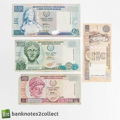 CYPRUS:Set of 4 Cypriot Pound Banknotes.
