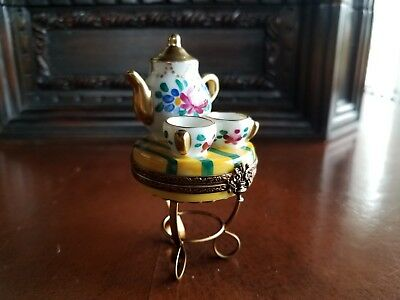 Table and Coffee Tea Limoges Trinket Box Peint Main France Rochard Artoria