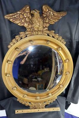 OLD Large Gilt Wood Eagle Bullseye Mirror w/ Bulbous Convex Glass !