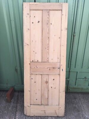 "27 3/4""x74 7/8"" Reclaimed Victorian Stripped Pine Four Panel Internal Door"