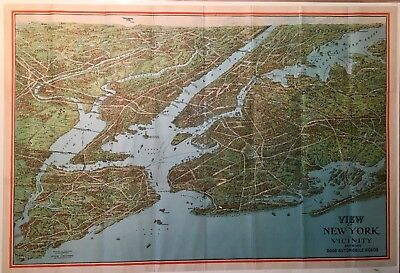 1920s Colored Birds Eye View and Good Auto Route Map of New York  (Nostrand)