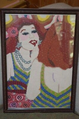 Vintage Unique Hand Made Silk Needlepoint  Framed  Picture