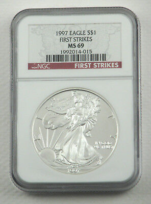 """1997 American Eagle Silver Dollar NGC MS69 """"First Strikes"""" SAE Coin"""