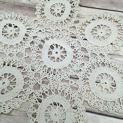 "#245  Vintage Crocheted Doily  Ivory Cream 11"" Centerpiece Doilies"