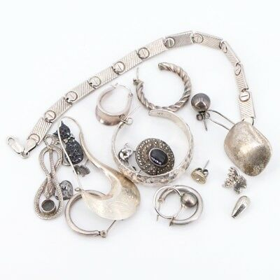VTG Sterling Silver - Lot of Assorted Mixed Jewelry REPAIR /SCRAP - 51.2g