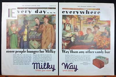 1929 Milky Way Mars Candy Bar Autumn Farm or General Store 2-Page Print Ad