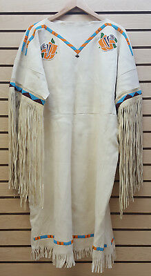 2Xl Hand Crafted Beaded Crow Flower Design Native American Indian Buckskin Dress