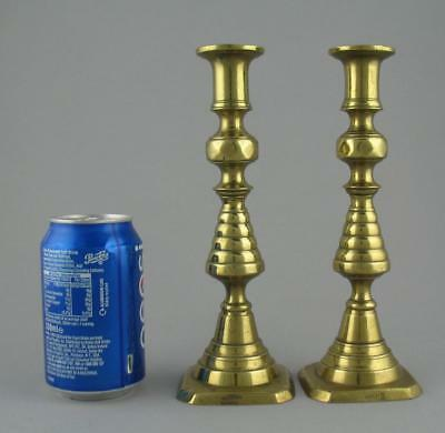 """Pair 9"""" Antique Victorian Brass James Clew Beehive Candlesticks Rgd Design c1893"""