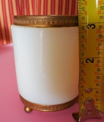 Thick Antique Fry Glass Foval ? w/ Footed Embossed Brass Rim Cup Holder Vase